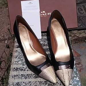 COACH SIZE 10B BLACK WITH SNAKESKIN TOES PUMPS